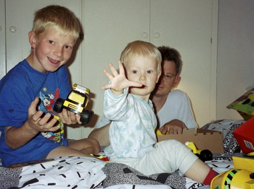 Opening presents on Daniels Birthday (2 years) /Sept. 18th 1999